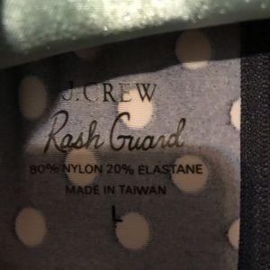 J. Crew Tops - J. Crew Rash Guard Mock Neck Tan B & W Polka dots